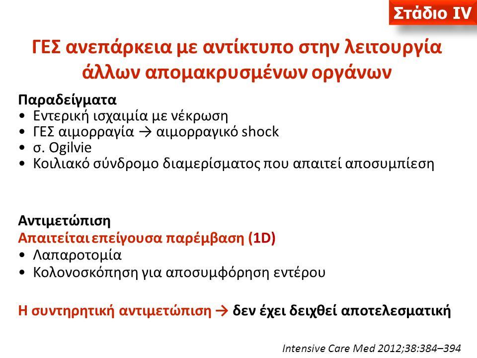 Παραδείγματα Εντερική ισχαιμία με νέκρωση ΓΕΣ αιμορραγία → αιμορραγικό shock σ. Ogilvie Κοιλιακό σύνδρομο διαμερίσματος που απαιτεί αποσυμπίεση Αντιμε