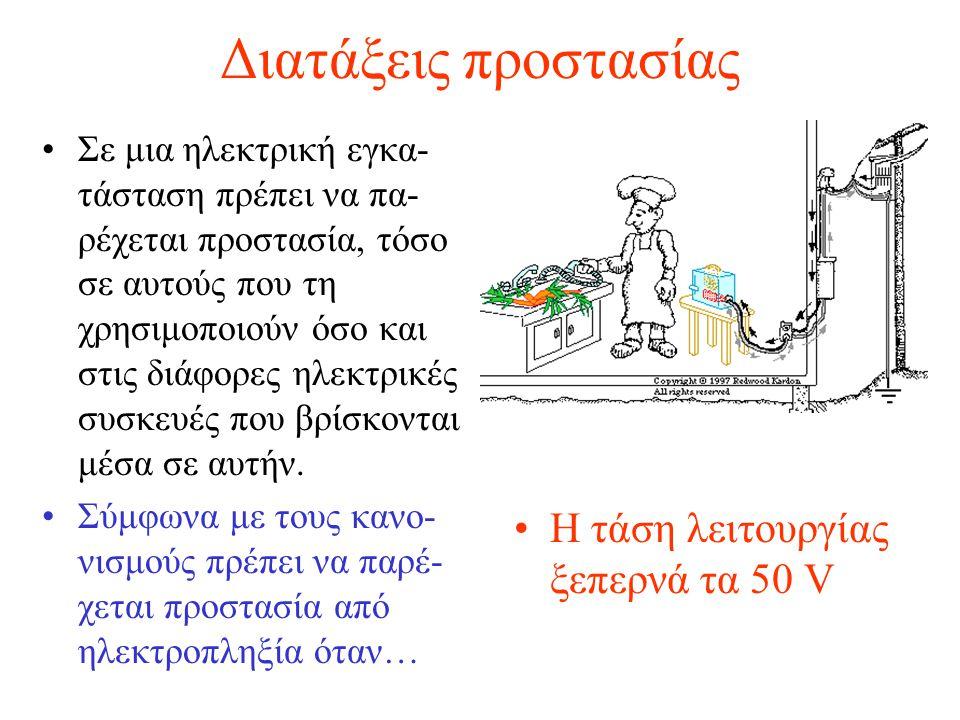 Διατάξεις προστασίας Σε μια ηλεκτρική εγκα- τάσταση πρέπει να πα- ρέχεται προστασία, τόσο σε αυτούς που τη χρησιμοποιούν όσο και στις διάφορες ηλεκτρι