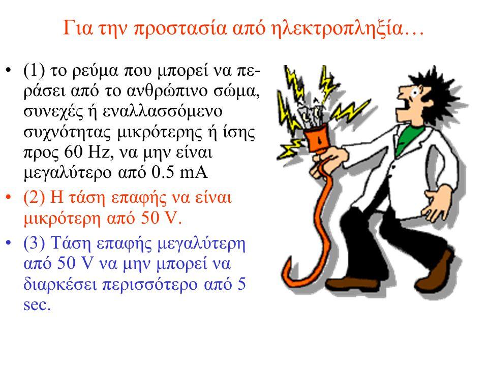 Για την προστασία από ηλεκτροπληξία… (1) το ρεύμα που μπορεί να πε- ράσει από το ανθρώπινο σώμα, συνεχές ή εναλλασσόμενο συχνότητας μικρότερης ή ίσης