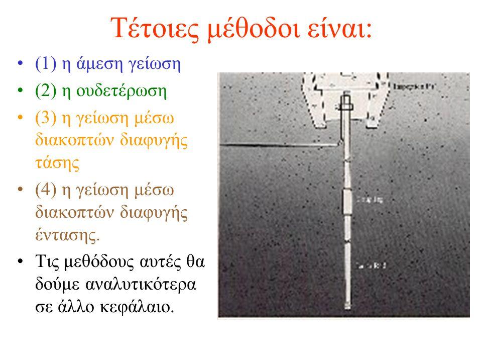 Τέτοιες μέθοδοι είναι: (1) η άμεση γείωση (2) η ουδετέρωση (3) η γείωση μέσω διακοπτών διαφυγής τάσης (4) η γείωση μέσω διακοπτών διαφυγής έντασης. Τι