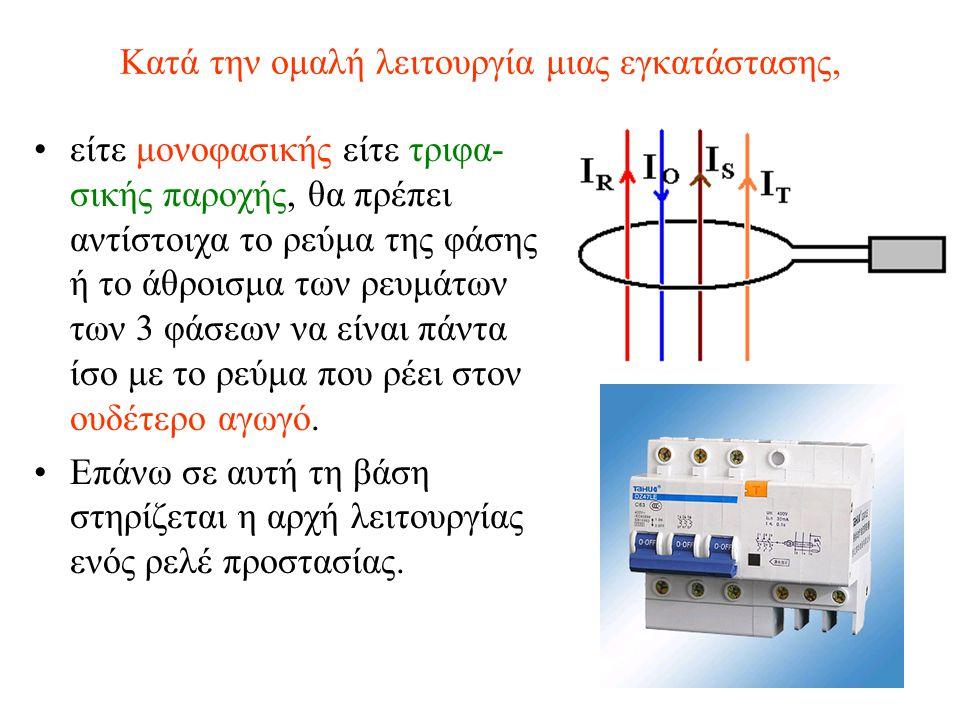 Κατά την ομαλή λειτουργία μιας εγκατάστασης, είτε μονοφασικής είτε τριφα- σικής παροχής, θα πρέπει αντίστοιχα το ρεύμα της φάσης ή το άθροισμα των ρευ