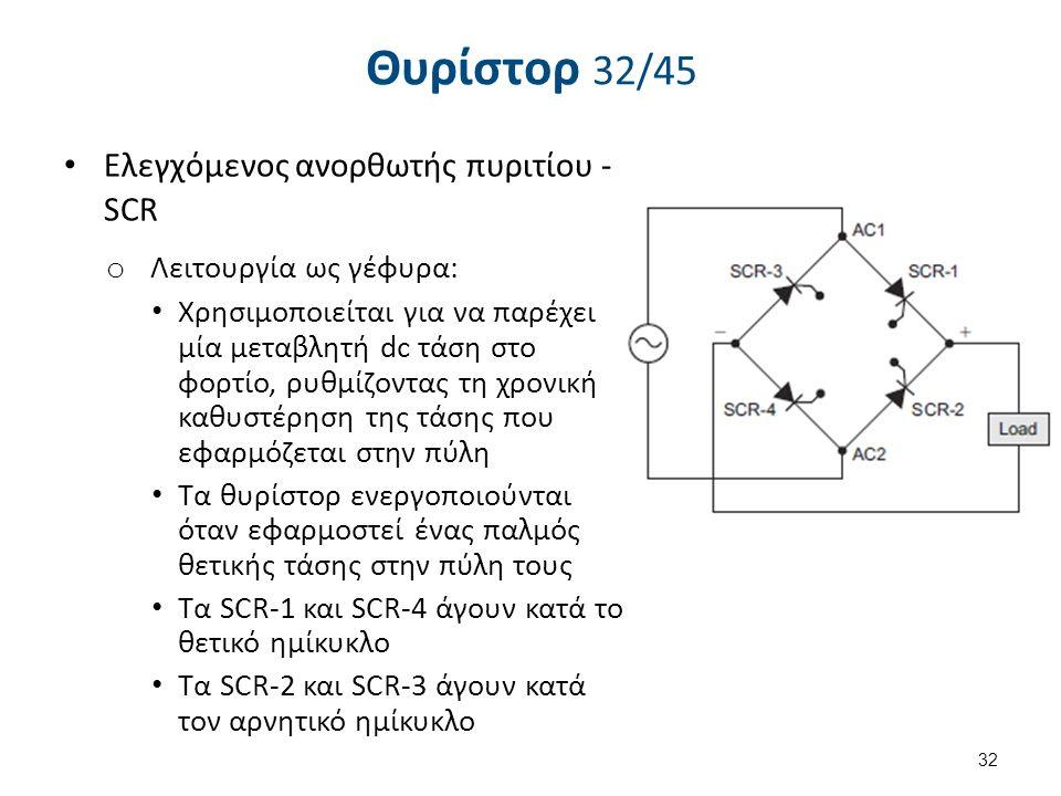 Θυρίστορ 32/45 Eλεγχόμενος ανορθωτής πυριτίου - SCR o Λειτουργία ως γέφυρα: Χρησιμοποιείται για να παρέχει μία μεταβλητή dc τάση στο φορτίο, ρυθμίζοντ