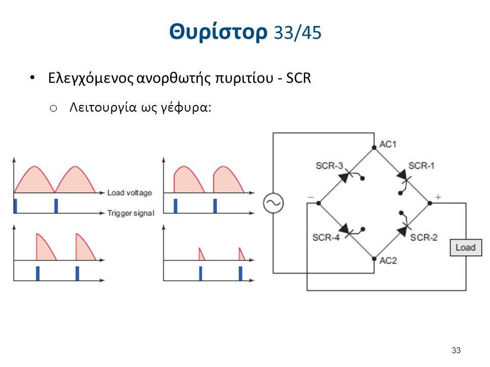 Θυρίστορ 33/45 Eλεγχόμενος ανορθωτής πυριτίου - SCR o Λειτουργία ως γέφυρα: 33