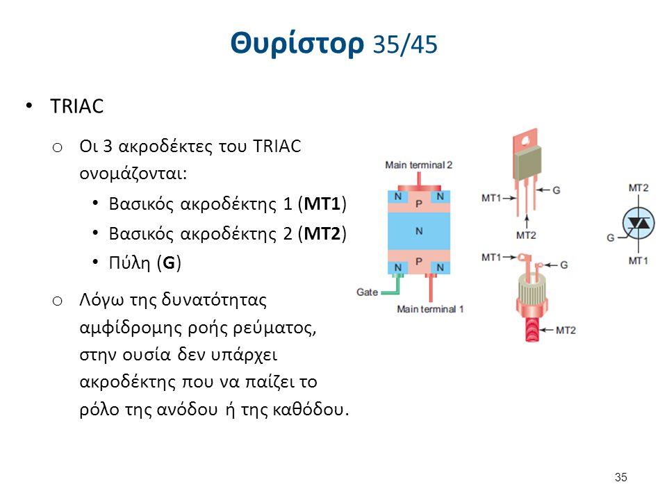 Θυρίστορ 35/45 TRIAC o Οι 3 ακροδέκτες του TRIAC ονομάζονται: Βασικός ακροδέκτης 1 (ΜΤ1) Βασικός ακροδέκτης 2 (ΜΤ2) Πύλη (G) o Λόγω της δυνατότητας αμ