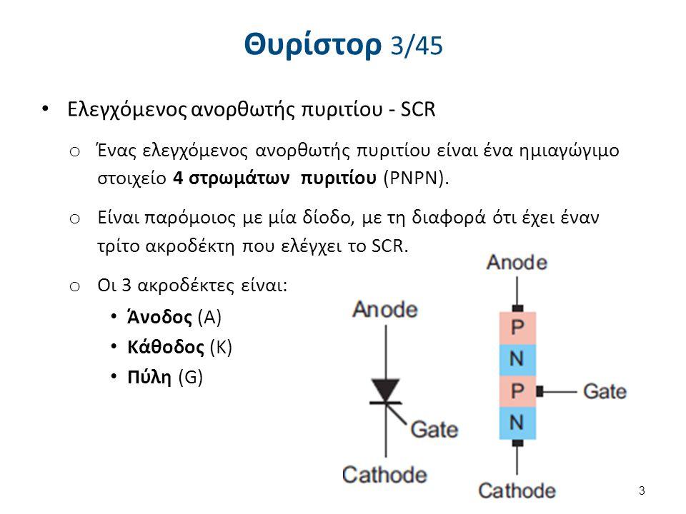 Θυρίστορ 3/45 Eλεγχόμενος ανορθωτής πυριτίου - SCR o Ένας ελεγχόμενος ανορθωτής πυριτίου είναι ένα ημιαγώγιμο στοιχείο 4 στρωμάτων πυριτίου (PNPN). o