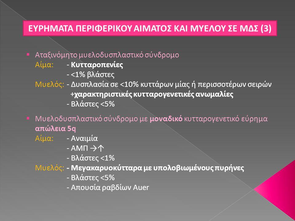 ΕΥΡΗΜΑΤΑ ΠΕΡΙΦΕΡΙΚΟΥ ΑΙΜΑΤΟΣ ΚΑΙ ΜΥΕΛΟΥ ΣΕ ΜΔΣ (3)  Αταξινόμητο μυελοδυσπλαστικό σύνδρομο Αίμα: - Κυτταροπενίες - <1% βλάστες Μυελός: - Δυσπλασία σε