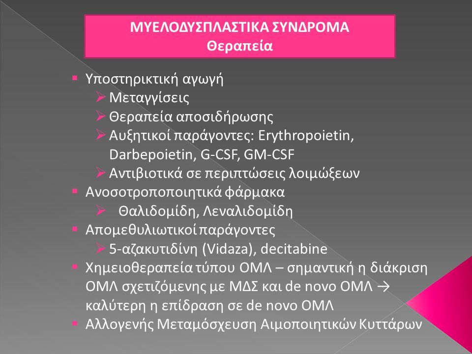 ΜΥΕΛΟΔΥΣΠΛΑΣΤΙΚΑ ΣΥΝΔΡΟΜΑ Θεραπεία  Υποστηρικτική αγωγή  Μεταγγίσεις  Θεραπεία αποσιδήρωσης  Αυξητικοί παράγοντες: Erythropoietin, Darbepoietin, G