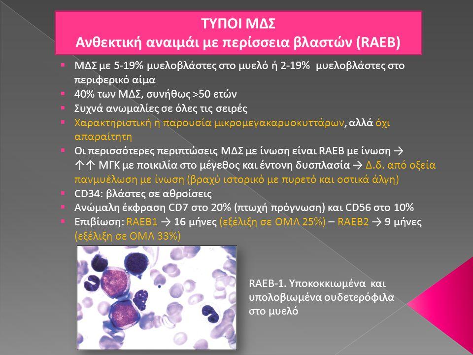 ΤΥΠΟΙ ΜΔΣ Ανθεκτική αναιμάι με περίσσεια βλαστών (RAEB)  ΜΔΣ με 5-19% μυελοβλάστες στο μυελό ή 2-19% μυελοβλάστες στο περιφερικό αίμα  40% των ΜΔΣ,