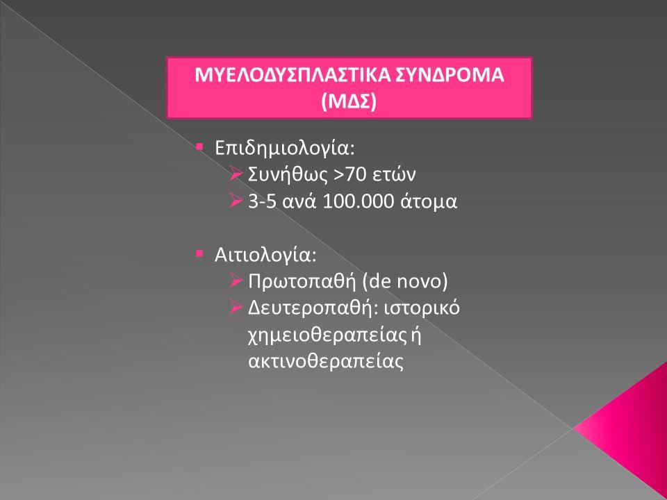 ΜΔΣ – ΟΣΤΕΟΜΥΕΛΙΚΗ ΒΙΟΨΙΑ (2)  Κυτταροβριθής ή νορμοκυτταρικός στις περισσότερες περιπτώσεις Κυτταροπενικός συνήθως στα δευτεροπαθή ΜΔΣ ή στα ΜΔΣ της παιδικής ηλικίας  Δυσπλαστικές αλλοιώσεις σε μία ή περισσότερες κυτταρικές σειρές  Παρουσία ↑ποσοστού βλαστών (<20%) Μικρές αθροίσεις (3-5) ή ομάδες (>5) βλαστών μακράν της ενδοστικής επιφάνειας συνήθως σε RAEB Ανίχνευση βλαστών με ανοσοϊστοχημική χρώση για CD34  Ενίοτε έκφραση CD34 σε ΜΓΚ  Χρήση CD61 για ανίχνευση μικρομεγακαρυοκυττάρων (κυρίως σε ΜΔΣ παιδικής ηλικίας)