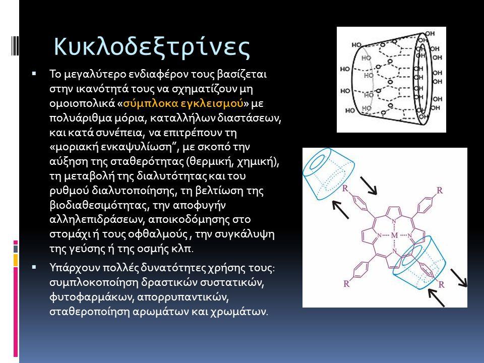 Κυκλοδεξτρίνες  Το μεγαλύτερο ενδιαφέρον τους βασίζεται στην ικανότητά τους να σχηματίζουν μη ομοιοπολικά «σύμπλοκα εγκλεισμού» με πολυάριθμα μόρια,