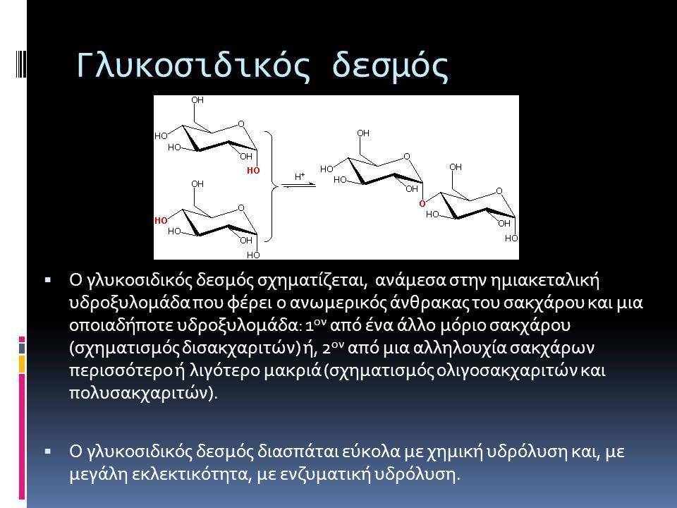 Γλυκοσιδικός δεσμός  Ο γλυκοσιδικός δεσμός σχηματίζεται, ανάμεσα στην ημιακεταλική υδροξυλομάδα που φέρει ο ανωμερικός άνθρακας του σακχάρου και μια