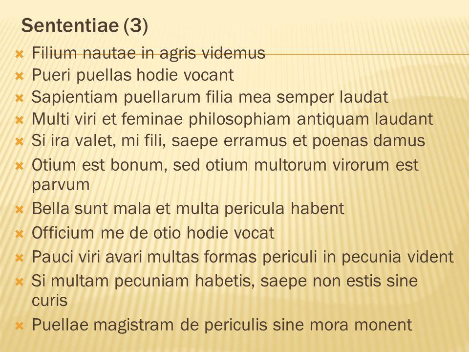 Sententiae (3)  Filium nautae in agris videmus  Pueri puellas hodie vocant  Sapientiam puellarum filia mea semper laudat  Multi viri et feminae philosophiam antiquam laudant  Si ira valet, mi fili, saepe erramus et poenas damus  Otium est bonum, sed otium multorum virorum est parvum  Bella sunt mala et multa pericula habent  Officium me de otio hodie vocat  Pauci viri avari multas formas periculi in pecunia vident  Si multam pecuniam habetis, saepe non estis sine curis  Puellae magistram de periculis sine mora monent