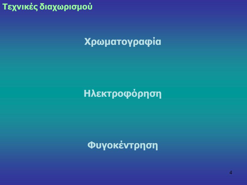 4 Χρωματογραφία Ηλεκτροφόρηση Φυγοκέντρηση Τεχνικές διαχωρισμού