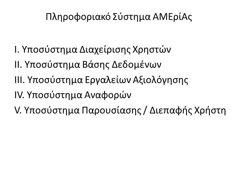 Πληροφοριακό Σύστημα ΑΜΕρίΑς Ι. Υποσύστημα Διαχείρισης Χρηστών ΙΙ.
