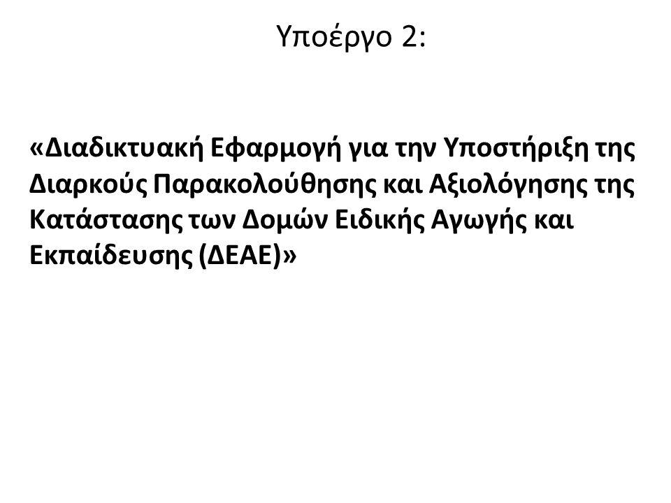 Υποέργο 2: «Διαδικτυακή Εφαρμογή για την Υποστήριξη της Διαρκούς Παρακολούθησης και Αξιολόγησης της Κατάστασης των Δομών Ειδικής Αγωγής και Εκπαίδευσης (ΔΕΑΕ)»