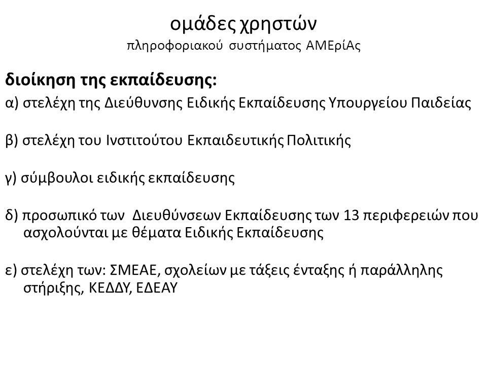 ομάδες χρηστών πληροφοριακού συστήματος ΑΜΕρίΑς διοίκηση της εκπαίδευσης: α) στελέχη της Διεύθυνσης Ειδικής Εκπαίδευσης Υπουργείου Παιδείας β) στελέχη του Ινστιτούτου Εκπαιδευτικής Πολιτικής γ) σύμβουλοι ειδικής εκπαίδευσης δ) προσωπικό των Διευθύνσεων Εκπαίδευσης των 13 περιφερειών που ασχολούνται με θέματα Ειδικής Εκπαίδευσης ε) στελέχη των: ΣΜΕΑΕ, σχολείων με τάξεις ένταξης ή παράλληλης στήριξης, ΚΕΔΔΥ, ΕΔΕΑΥ