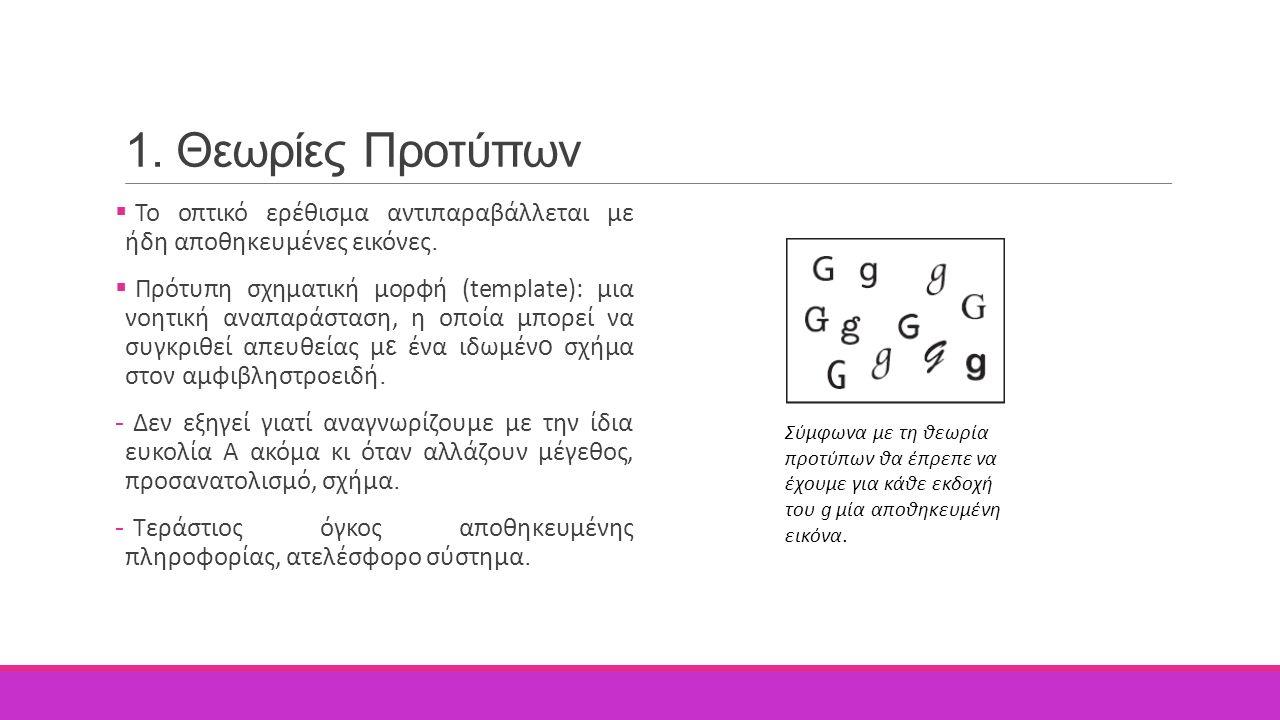 1. Θεωρίες Προτύπων  Το οπτικό ερέθισμα αντιπαραβάλλεται με ήδη αποθηκευμένες εικόνες.  Πρότυπη σχηματική μορφή (template): μια νοητική αναπαράσταση
