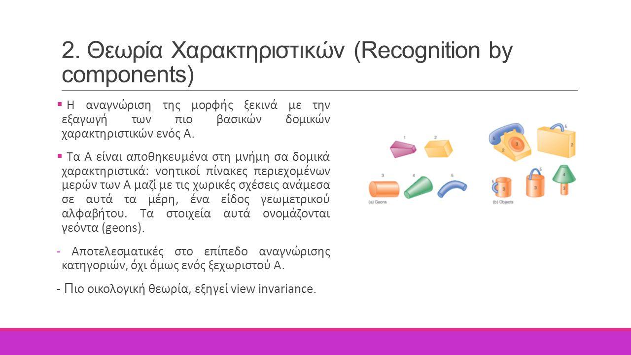 2. Θεωρία Χαρακτηριστικών (Recognition by components)  Η αναγνώριση της μορφής ξεκινά με την εξαγωγή των πιο βασικών δομικών χαρακτηριστικών ενός Α.