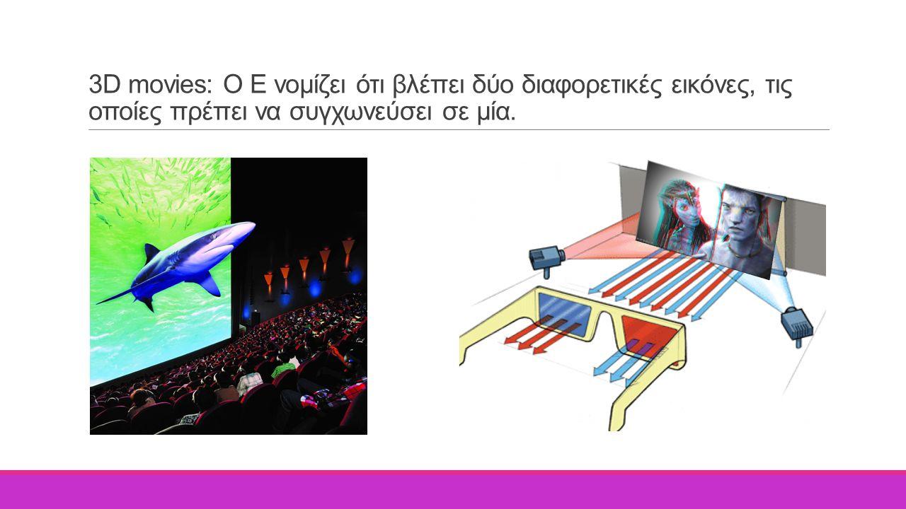 3D movies: Ο Ε νομίζει ότι βλέπει δύο διαφορετικές εικόνες, τις οποίες πρέπει να συγχωνεύσει σε μία.