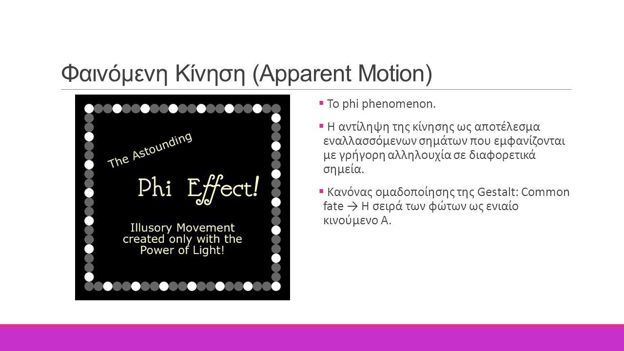 Φαινόμενη Κίνηση (Apparent Motion)  Το phi phenomenon.  Η αντίληψη της κίνησης ως αποτέλεσμα εναλλασσόμενων σημάτων που εμφανίζονται με γρήγορη αλλη