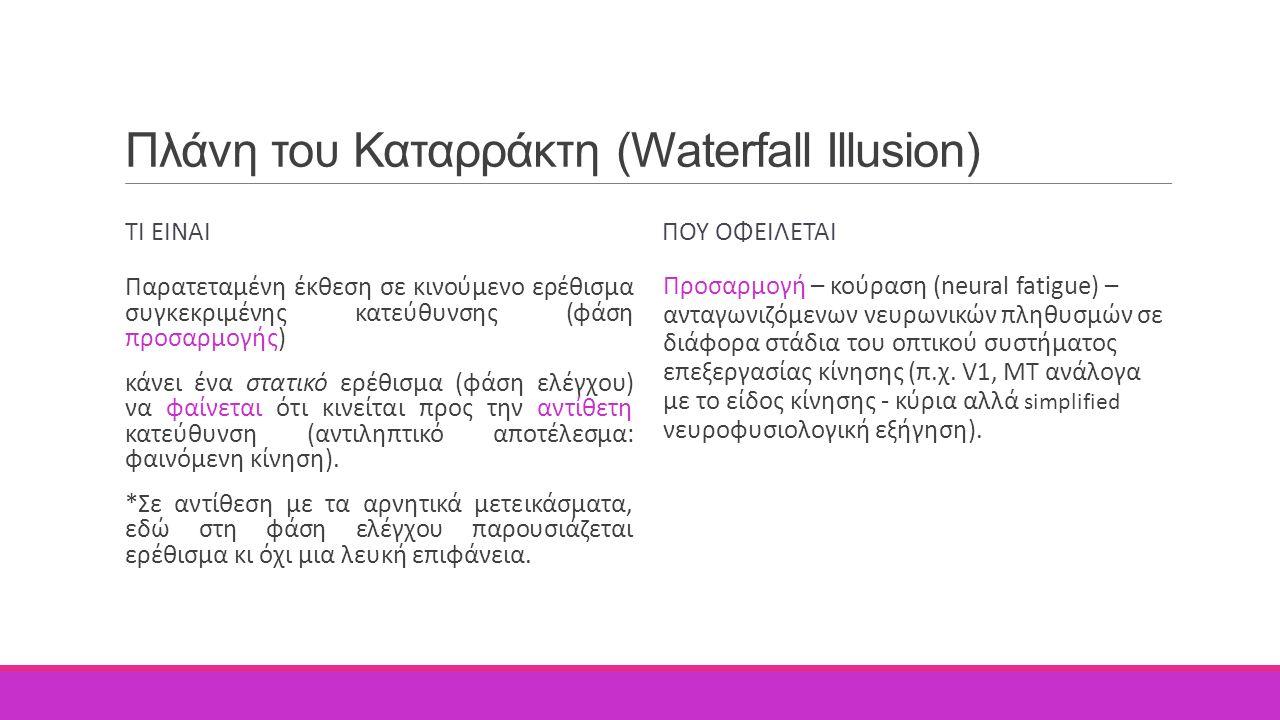 Πλάνη του Καταρράκτη (Waterfall Illusion) ΤΙ ΕΙΝΑΙ Παρατεταμένη έκθεση σε κινούμενο ερέθισμα συγκεκριμένης κατεύθυνσης (φάση προσαρμογής) κάνει ένα στ