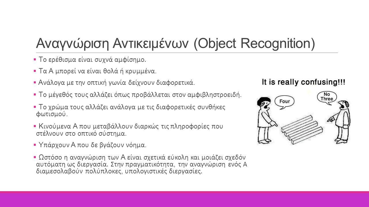 Αναγνώριση Αντικειμένων (Object Recognition)  Τ ο ερέθισμα είναι συχνά αμφίσημο.  Τ α Α μπορεί να είναι θολά ή κρυμμένα.  Α νάλογα με την οπτική γω