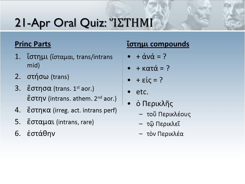 21-Apr Oral Quiz: Ἵ ΣΤΗΜΙ Princ Parts 1.ἵστημι (ἵσταμαι, trans/intrans mid) 2.στήσω (trans) 3.ἔστησα (trans.