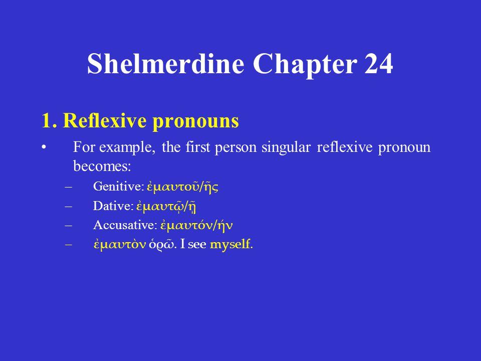 Shelmerdine Chapter 24 1.Reflexive pronouns 2.Direct and indirect reflexives 3.The reciprocal pronoun 4.Questions 5.Demonstrative pronouns / adjectives 6.