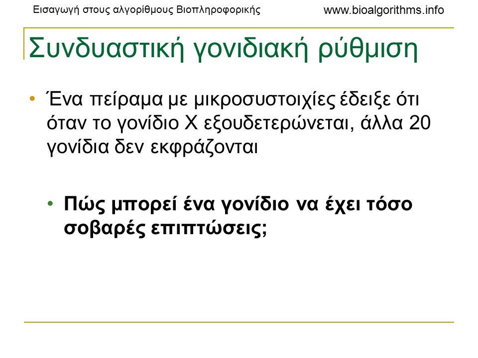 Εισαγωγή στους αλγορίθμους Βιοπληροφορικής www.bioalgorithms.info Συνδυαστική γονιδιακή ρύθμιση Ένα πείραμα με μικροσυστοιχίες έδειξε ότι όταν το γονίδιο X εξουδετερώνεται, άλλα 20 γονίδια δεν εκφράζονται Πώς μπορεί ένα γονίδιο να έχει τόσο σοβαρές επιπτώσεις;