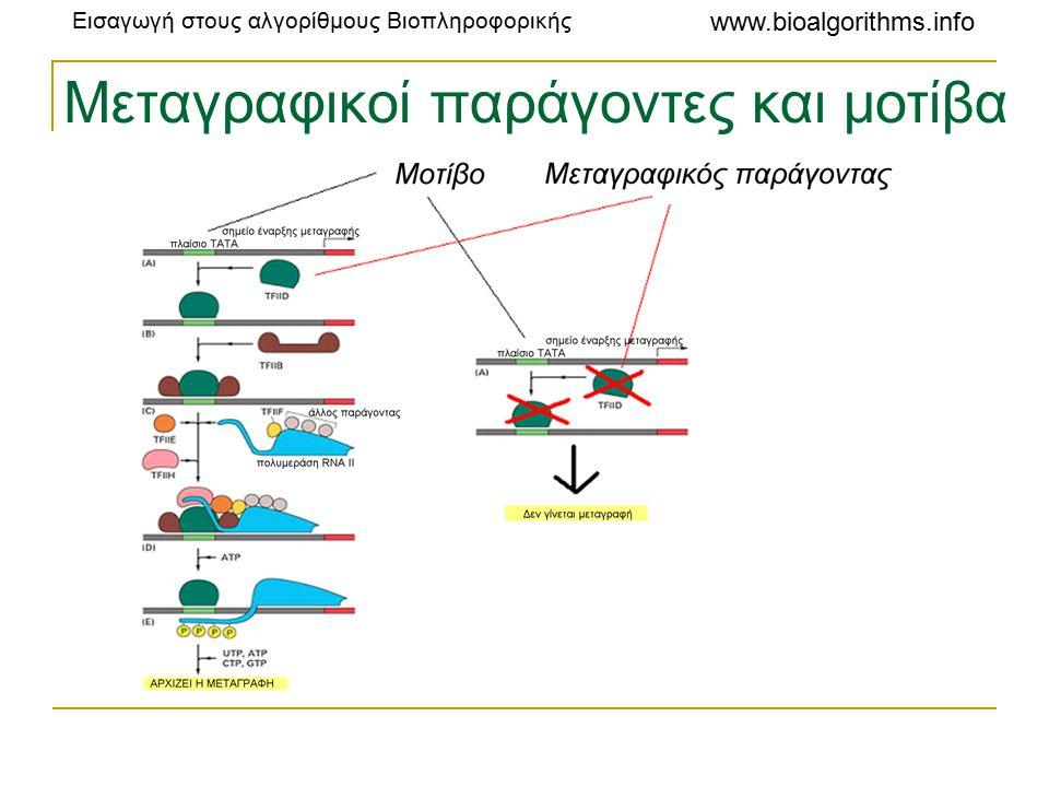 Εισαγωγή στους αλγορίθμους Βιοπληροφορικής www.bioalgorithms.info Μεταγραφικοί παράγοντες και μοτίβα