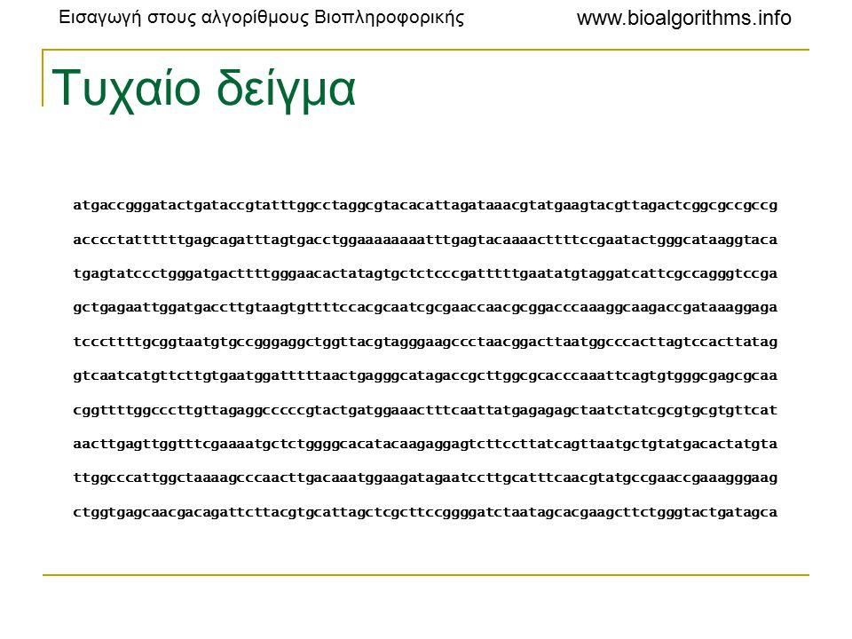 Εισαγωγή στους αλγορίθμους Βιοπληροφορικής www.bioalgorithms.info Τυχαίο δείγμα atgaccgggatactgataccgtatttggcctaggcgtacacattagataaacgtatgaagtacgttagactcggcgccgccg acccctattttttgagcagatttagtgacctggaaaaaaaatttgagtacaaaacttttccgaatactgggcataaggtaca tgagtatccctgggatgacttttgggaacactatagtgctctcccgatttttgaatatgtaggatcattcgccagggtccga gctgagaattggatgaccttgtaagtgttttccacgcaatcgcgaaccaacgcggacccaaaggcaagaccgataaaggaga tcccttttgcggtaatgtgccgggaggctggttacgtagggaagccctaacggacttaatggcccacttagtccacttatag gtcaatcatgttcttgtgaatggatttttaactgagggcatagaccgcttggcgcacccaaattcagtgtgggcgagcgcaa cggttttggcccttgttagaggcccccgtactgatggaaactttcaattatgagagagctaatctatcgcgtgcgtgttcat aacttgagttggtttcgaaaatgctctggggcacatacaagaggagtcttccttatcagttaatgctgtatgacactatgta ttggcccattggctaaaagcccaacttgacaaatggaagatagaatccttgcatttcaacgtatgccgaaccgaaagggaag ctggtgagcaacgacagattcttacgtgcattagctcgcttccggggatctaatagcacgaagcttctgggtactgatagca