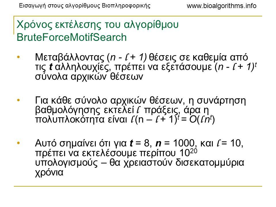 Εισαγωγή στους αλγορίθμους Βιοπληροφορικής www.bioalgorithms.info Χρόνος εκτέλεσης του αλγορίθμου BruteForceMotifSearch Μεταβάλλοντας (n - l + 1) θέσεις σε καθεμία από τις t αλληλουχίες, πρέπει να εξετάσουμε (n - l + 1) t σύνολα αρχικών θέσεων Για κάθε σύνολο αρχικών θέσεων, η συνάρτηση βαθμολόγησης εκτελεί l πράξεις, άρα η πολυπλοκότητα είναι l (n – l + 1) t = O( l n t ) Αυτό σημαίνει ότι για t = 8, n = 1000, και l = 10, πρέπει να εκτελέσουμε περίπου 10 20 υπολογισμούς – θα χρειαστούν δισεκατομμύρια χρόνια
