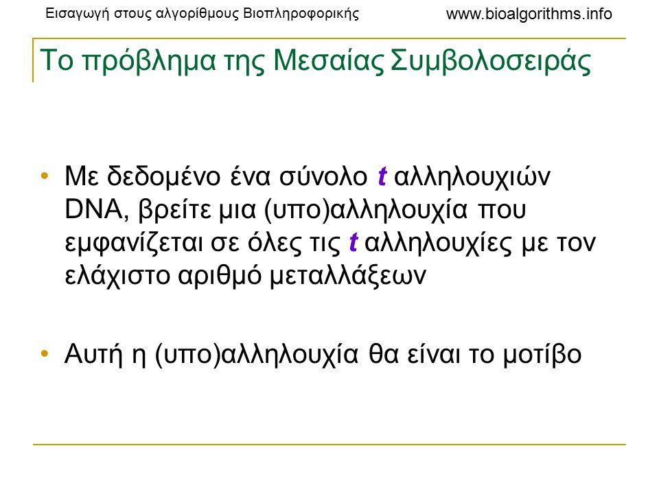 Εισαγωγή στους αλγορίθμους Βιοπληροφορικής www.bioalgorithms.info Το πρόβλημα της Μεσαίας Συμβολοσειράς Με δεδομένο ένα σύνολο t αλληλουχιών DNA, βρείτε μια (υπο)αλληλουχία που εμφανίζεται σε όλες τις t αλληλουχίες με τον ελάχιστο αριθμό μεταλλάξεων Αυτή η (υπο)αλληλουχία θα είναι το μοτίβο
