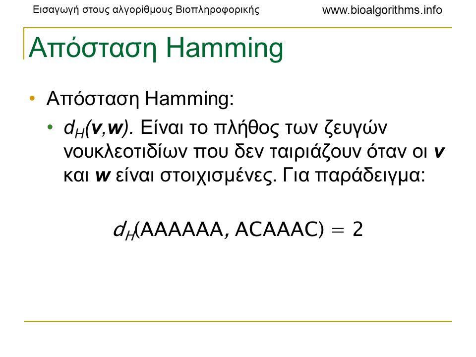 Εισαγωγή στους αλγορίθμους Βιοπληροφορικής www.bioalgorithms.info Απόσταση Hamming Απόσταση Hamming: d H (v,w).