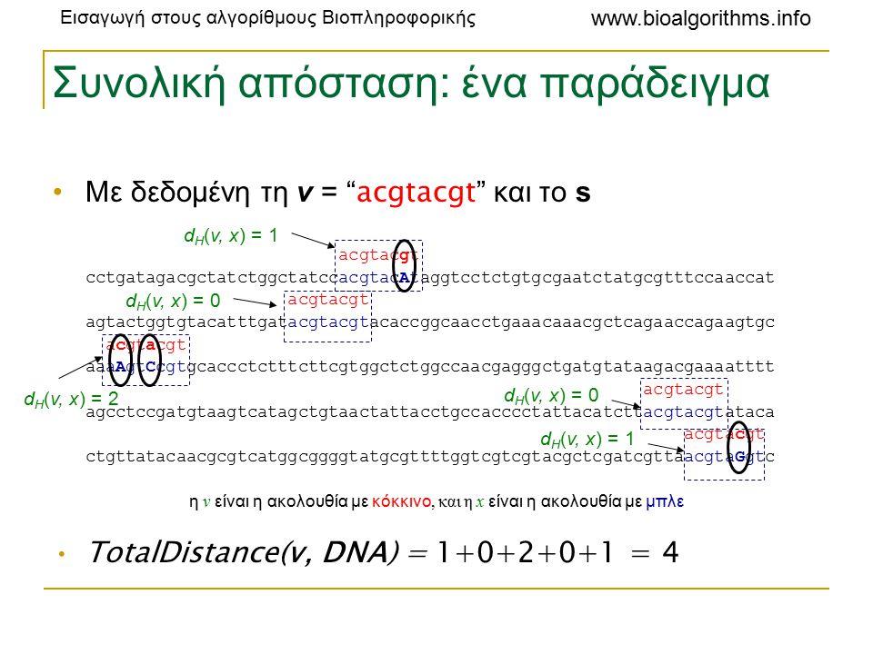 Εισαγωγή στους αλγορίθμους Βιοπληροφορικής www.bioalgorithms.info Συνολική απόσταση: ένα παράδειγμα Με δεδομένη τη v = acgtacgt και το s acgtacgt cctgatagacgctatctggctatccacgtacAtaggtcctctgtgcgaatctatgcgtttccaaccat acgtacgt agtactggtgtacatttgatacgtacgtacaccggcaacctgaaacaaacgctcagaaccagaagtgc acgtacgt aaaAgtCcgtgcaccctctttcttcgtggctctggccaacgagggctgatgtataagacgaaaatttt acgtacgt agcctccgatgtaagtcatagctgtaactattacctgccacccctattacatcttacgtacgtataca acgtacgt ctgttatacaacgcgtcatggcggggtatgcgttttggtcgtcgtacgctcgatcgttaacgtaGgtc η v είναι η ακολουθία με κόκκινο, και η x είναι η ακολουθία με μπλε TotalDistance(v, DNA) = 1+0+2+0+1 = 4 d H (v, x) = 2 d H (v, x) = 1 d H (v, x) = 0 d H (v, x) = 1
