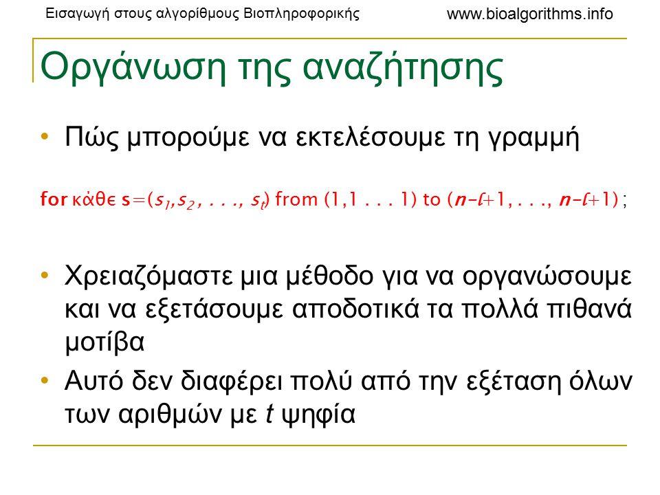 Εισαγωγή στους αλγορίθμους Βιοπληροφορικής www.bioalgorithms.info Οργάνωση της αναζήτησης Πώς μπορούμε να εκτελέσουμε τη γραμμή for κάθε s=(s 1,s 2,..., s t ) from (1,1...