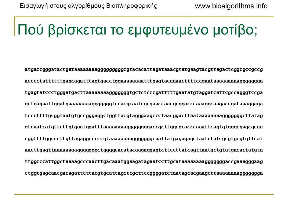 Εισαγωγή στους αλγορίθμους Βιοπληροφορικής www.bioalgorithms.info Πού βρίσκεται το εμφυτευμένο μοτίβο; atgaccgggatactgataaaaaaaagggggggggcgtacacattagataaacgtatgaagtacgttagactcggcgccgccg acccctattttttgagcagatttagtgacctggaaaaaaaatttgagtacaaaacttttccgaataaaaaaaaaggggggga tgagtatccctgggatgacttaaaaaaaagggggggtgctctcccgatttttgaatatgtaggatcattcgccagggtccga gctgagaattggatgaaaaaaaagggggggtccacgcaatcgcgaaccaacgcggacccaaaggcaagaccgataaaggaga tcccttttgcggtaatgtgccgggaggctggttacgtagggaagccctaacggacttaataaaaaaaagggggggcttatag gtcaatcatgttcttgtgaatggatttaaaaaaaaggggggggaccgcttggcgcacccaaattcagtgtgggcgagcgcaa cggttttggcccttgttagaggcccccgtaaaaaaaagggggggcaattatgagagagctaatctatcgcgtgcgtgttcat aacttgagttaaaaaaaagggggggctggggcacatacaagaggagtcttccttatcagttaatgctgtatgacactatgta ttggcccattggctaaaagcccaacttgacaaatggaagatagaatccttgcataaaaaaaagggggggaccgaaagggaag ctggtgagcaacgacagattcttacgtgcattagctcgcttccggggatctaatagcacgaagcttaaaaaaaaggggggga