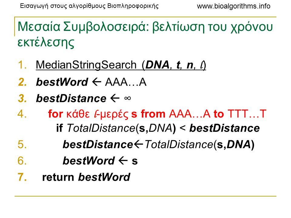 Εισαγωγή στους αλγορίθμους Βιοπληροφορικής www.bioalgorithms.info Μεσαία Συμβολοσειρά: βελτίωση του χρόνου εκτέλεσης 1.MedianStringSearch (DNA, t, n, l ) 2.bestWord  AAA…A 3.bestDistance  ∞ 4.