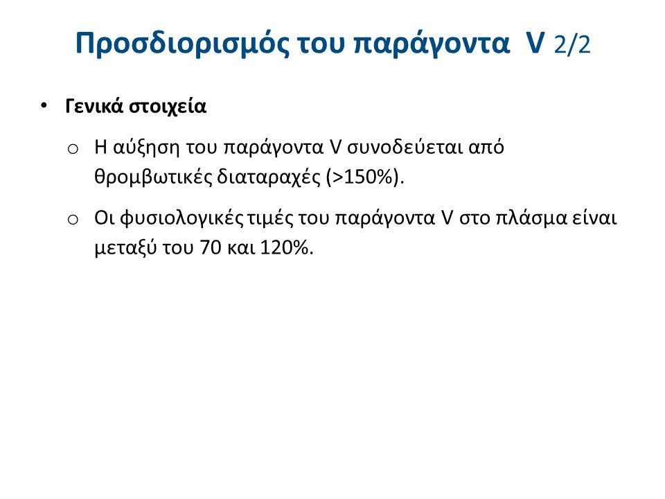 Προσδιορισμός του παράγοντα V 2/2 Γενικά στοιχεία o Η αύξηση του παράγοντα V συνοδεύεται από θρομβωτικές διαταραχές (>150%).