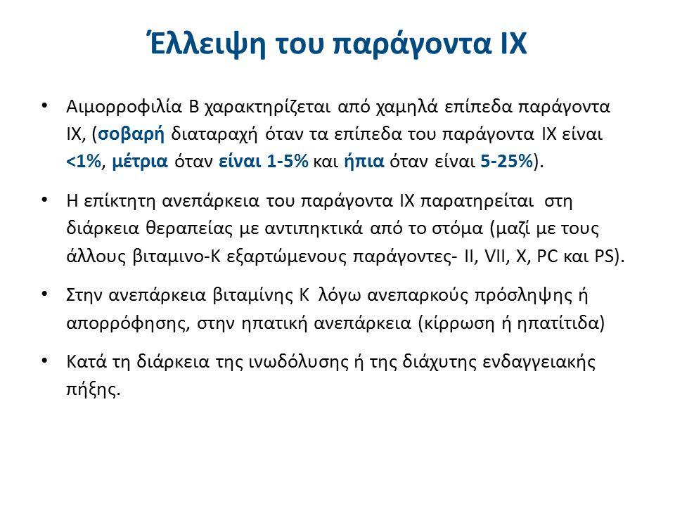 Γενικά στοιχεία Η αύξηση του παράγοντα IX συνοδεύεται από θρομβωτικές διαταραχές(>150%).