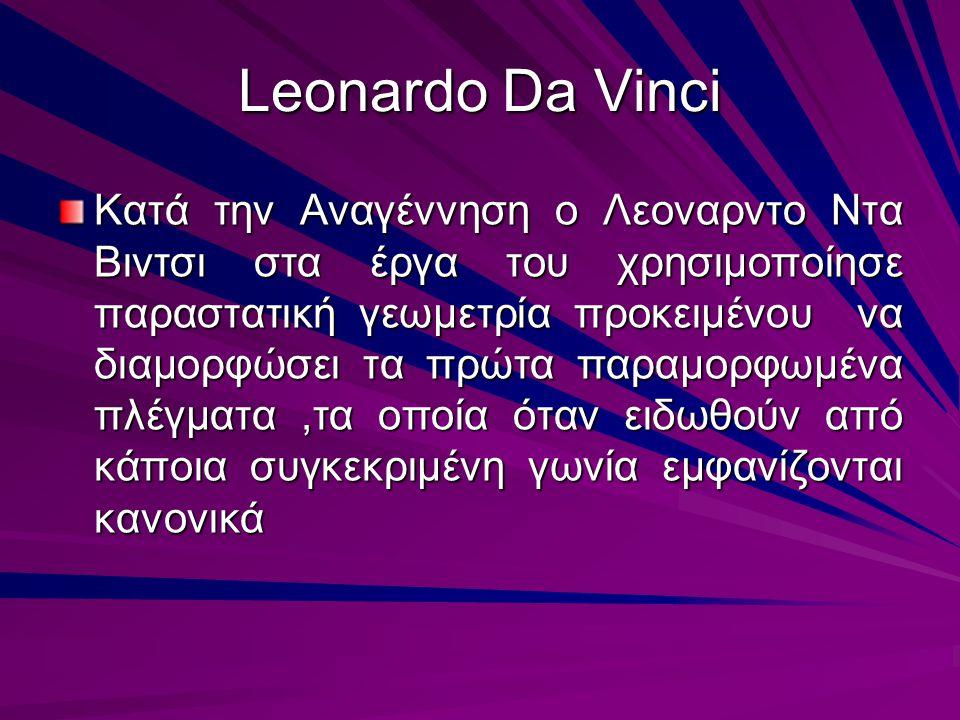 Leonardo Da Vinci Κατά την Αναγέννηση ο Λεοναρντο Ντα Βιντσι στα έργα του χρησιμοποίησε παραστατική γεωμετρία προκειμένου να διαμορφώσει τα πρώτα παρα