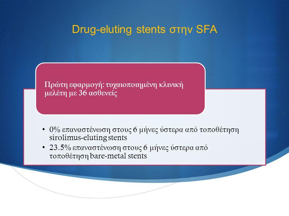 Drug-eluting stents στην SFA 0% ε π αναστένωση στους 6 μήνες ύστερα α π ό το π οθέτηση sirolimus-eluting stents 23.5% ε π αναστένωση στους 6 μήνες ύστερα α π ό το π οθέτηση bare-metal stents Πρώτη εφαρμογή : τυχαιο π οιημένη κλινική μελέτη με 36 ασθενείς Duda SH.