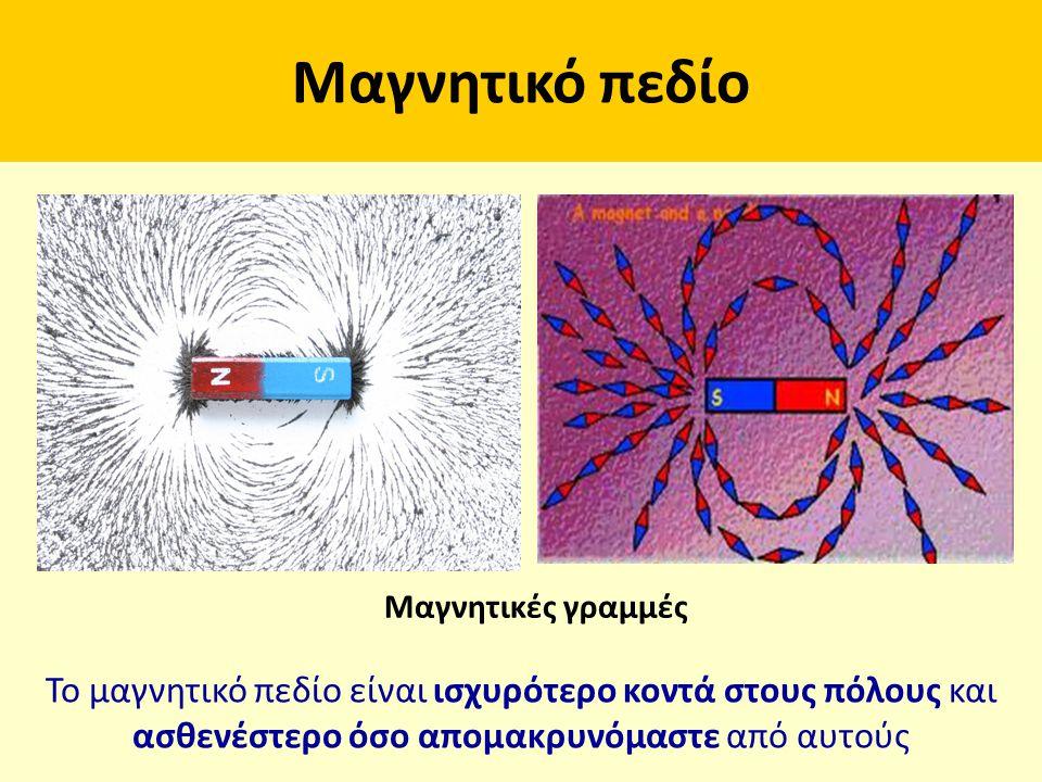 Μαγνητικό πεδίο Μαγνητικές γραμμές Το μαγνητικό πεδίο είναι ισχυρότερο κοντά στους πόλους και ασθενέστερο όσο απομακρυνόμαστε από αυτούς