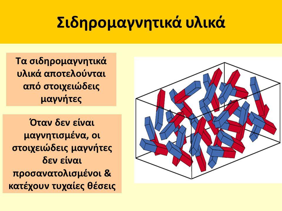 Σιδηρομαγνητικά υλικά Τα σιδηρομαγνητικά υλικά αποτελούνται από στοιχειώδεις μαγνήτες Όταν δεν είναι μαγνητισμένα, οι στοιχειώδεις μαγνήτες δεν είναι