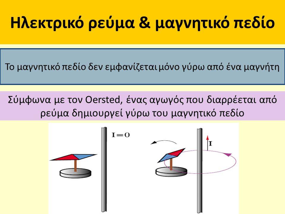 Ηλεκτρικό ρεύμα & μαγνητικό πεδίο Το μαγνητικό πεδίο δεν εμφανίζεται μόνο γύρω από ένα μαγνήτη Σύμφωνα με τον Oersted, ένας αγωγός που διαρρέεται από