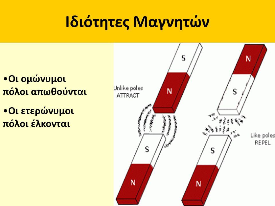 Ιδιότητες Μαγνητών Οι ομώνυμοι πόλοι απωθούνται Οι ετερώνυμοι πόλοι έλκονται