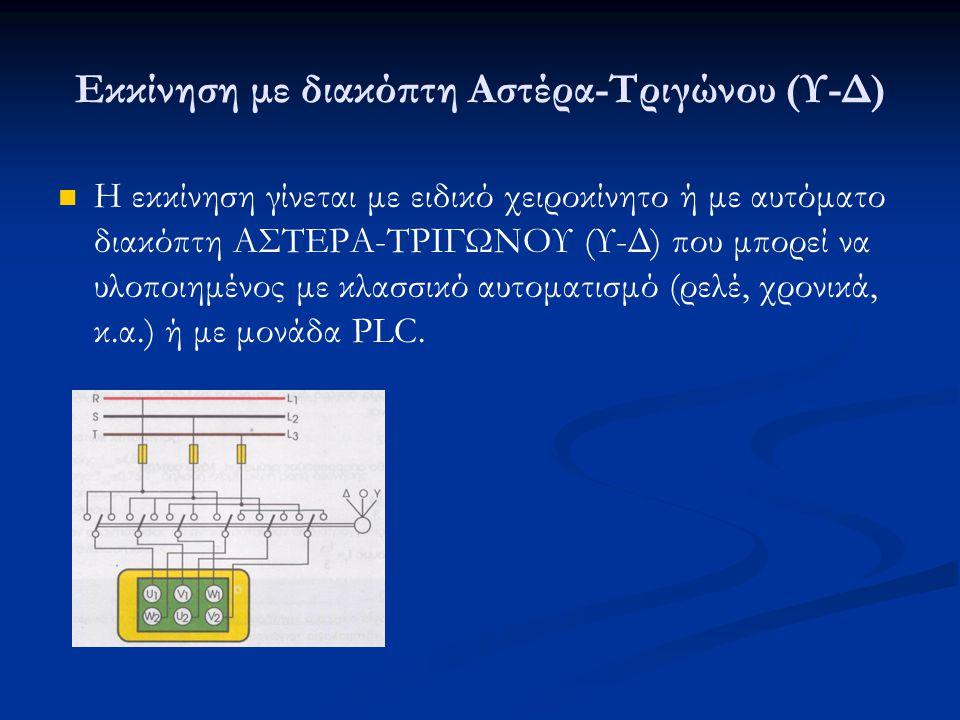 Εκκίνηση με διακόπτη Αστέρα-Τριγώνου (Υ-Δ) Η εκκίνηση γίνεται με ειδικό χειροκίνητο ή με αυτόματο διακόπτη ΑΣΤΕΡΑ-ΤΡΙΓΩΝΟΥ (Υ-Δ) που μπορεί να υλοποιημένος με κλασσικό αυτοματισμό (ρελέ, χρονικά, κ.α.) ή με μονάδα PLC.