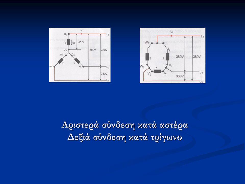 Αριστερά σύνδεση κατά αστέρα Δεξιά σύνδεση κατά τρίγωνο