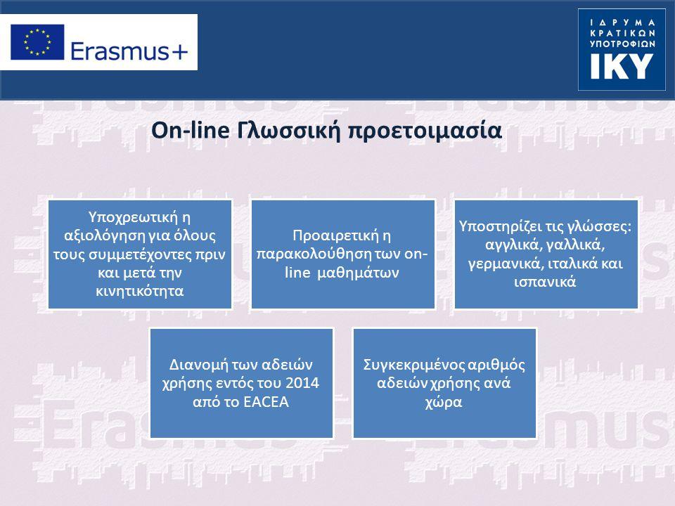 Οn-line Γλωσσική προετοιμασία Υποχρεωτική η αξιολόγηση για όλους τους συμμετέχοντες πριν και μετά την κινητικότητα Προαιρετική η παρακολούθηση των on-