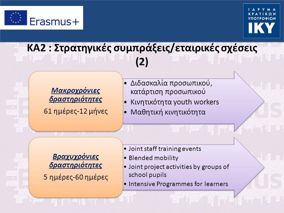 KA2 : Στρατηγικές συμπράξεις/εταιρικές σχέσεις (2) Διδασκαλία προσωπικού, κατάρτιση προσωπικού Κινητικότητα youth workers Μαθητική κινητικότητα Μακροχ